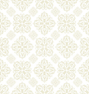 Floral wallpaper beige tile by Jim R. Randall