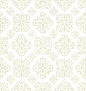 Floral wallpaper beige tile by Jim R. Randall