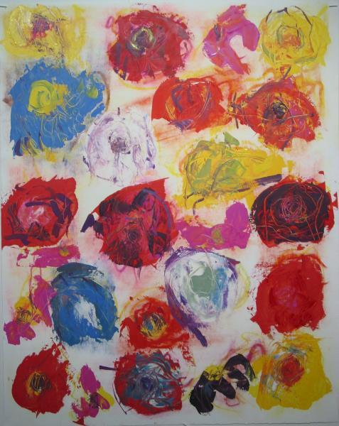 """Jim R. Randall Artwork Spell Chrysanthemums #3 Oil On Gessoed Paper 24""""x30"""""""